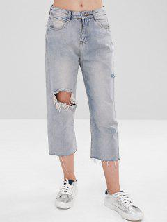 Destroyed Straight Capri Jeans - Gray Cloud M