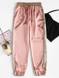 Color Trim Metallic Pants - Orange Pink L