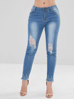 Bleach Wash Skinny Destroyed Jeans - Denim Blue L