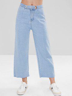 Frayed Wide Leg Ninth Jeans - Denim Blue M