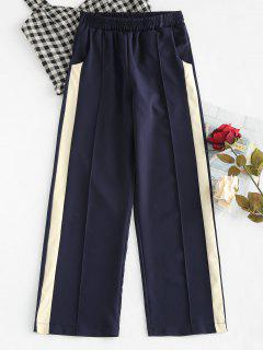 High Rise Contrast Palazzo Pants - Deep Blue S