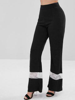 Back Zip Lace Panel Wide Leg Pants - Black L