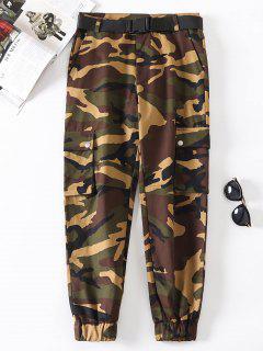 Flap Pockets Camouflage Jogger Pants - Multi-a L