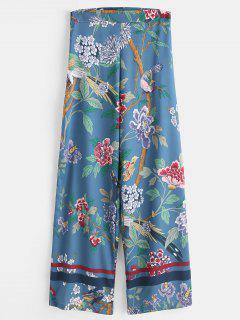 Wide Leg Flower Print Palazzo Pants - Multi M