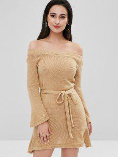 Belted Off The Shoulder Sweater Dress - Camel Brown M