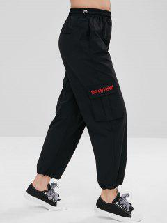 Side Pocket Drawstring Casual Pants - Black M