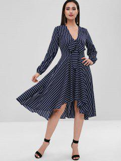 Striped Long Sleeve High Low Dress - Deep Blue M