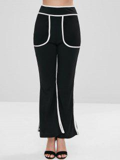 Slit Piped Boot Cut Pants - Black Xl
