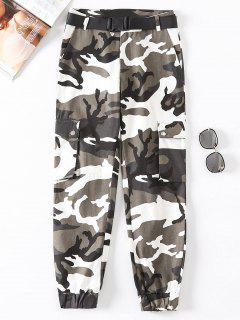 Flap Pockets Camouflage Jogger Pants - Multi-b M