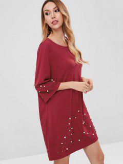 Robe Droite Perlée En Fausse Perle - Rouge Vineux L