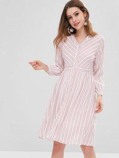 Striped Long Sleeves Shirt Dress - Pink S