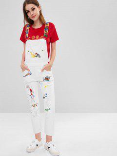 Distressed Embroidered Denim Overalls - White L