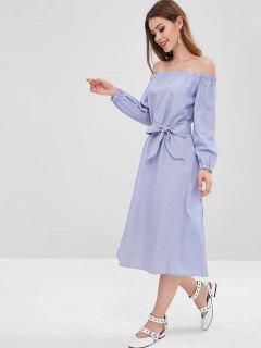 Off Shoulder Stripe Belted Midi Dress - Day Sky Blue M
