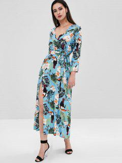 Floral Bird Print Slit Surplice Dress - Light Blue L
