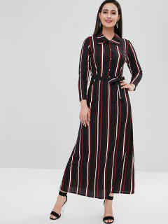 Long Sleeve Striped Belted Dress - Black M