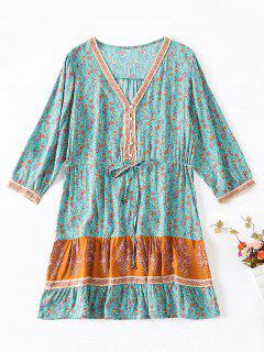 Buttoned Floral Print Drawstring Dress - Macaw Blue Green M