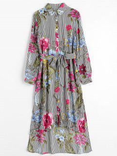 Robe Chemise Asymétrique Florale Rayée - Multi Xl