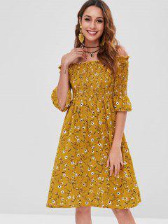 Vestido Impreso Con Hombros Descubiertos - Oro Anaranjado