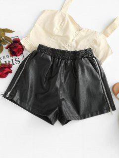 Pantalones Cortos De Cuero De Imitación De Alta Subida - Negro L