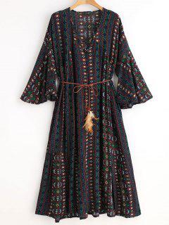 Vestido De Corte Bajo Con Efecto étnico - Azul Marino
