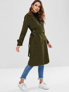 Trench Style Double Breasted Faux Wool Coat - Army Green M