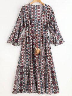 Belted Ethinc Midi Plunging Dress - Multi