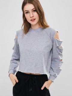 Slashed Sleeve Loopback Cropped Sweatshirt - Gray S