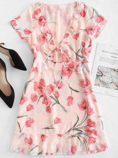 Ruffles Front Tie Floral Dress - Multi M
