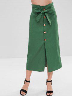 Front Button Split Long Skirt - Sea Turtle Green L