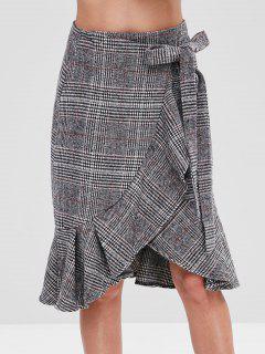 Flounce Hem Plaid Wrap Skirt - Multi M