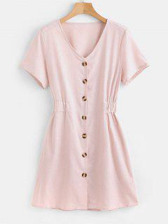 Button Down Mini Dress - Pearl L