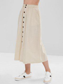 Buttoned Slit A Line Skirt - Crystal Cream S