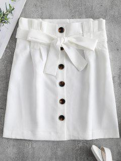 Button Front Belted Mini Skirt - White M