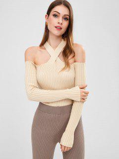 Cold Shoulder Fitted Knit Top - Beige