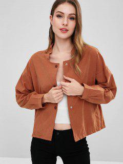 Lightweight Button Front Dolman Jacket - Orange Salmon M