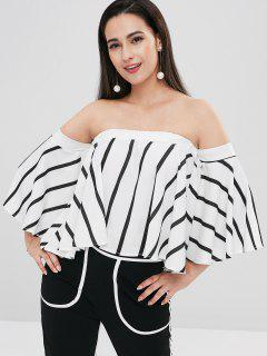 Striped Flowing Bell Sleeve Off The Shoulder Top - Multi M