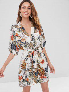 Kimono Feuille Imprimée - Multi L
