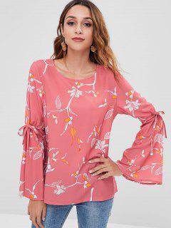 Blusa Estampada Con Estampado De Flores - Rojo Frijol L