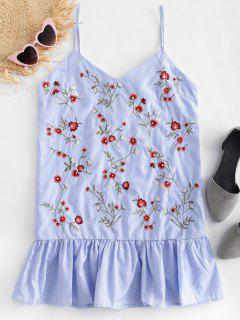 Pinstripe Floral Embroidered Cami Top - Multi L