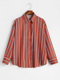 Casual Vertical Striped Shirt - Bean Red S