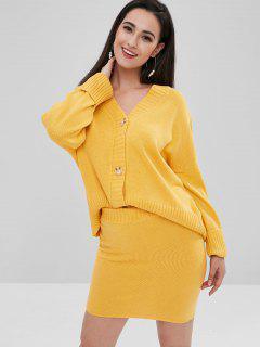 Loose Cardigan With Skirt Set - Mustard