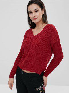 High Low Criss Cross Sweater - Cherry Red
