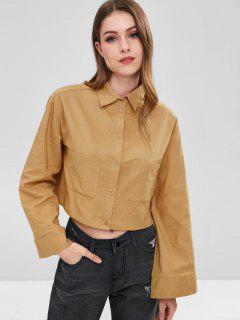 ZAFUL Double Pocket Crop Blouse - Orange Gold S