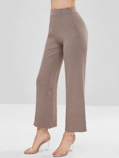 Ribbed Wide Leg Knit Pants - Dark Khaki