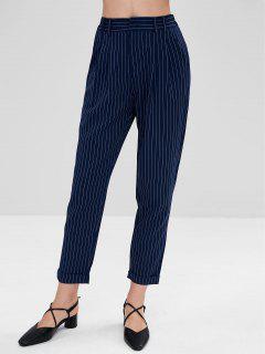 Pinstriped Cuffed Pants - Midnight Blue M