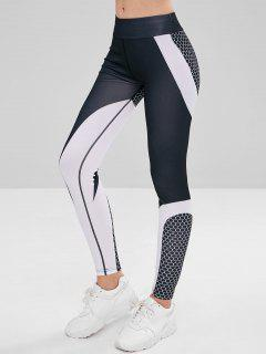 Elastic Waist Color Block Sport Leggings - Multi S
