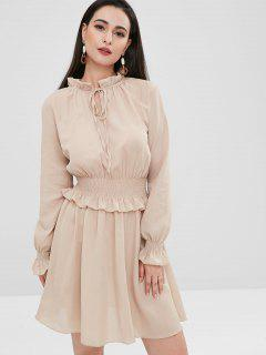 Shirred Ruffled Dress - Light Khaki L