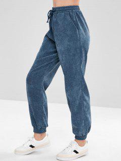 Corduroy Drawstring Jogger Pants - Steel Blue S