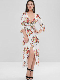 Low Cut Floral Flare Sleeve Slit Dress - Multi L