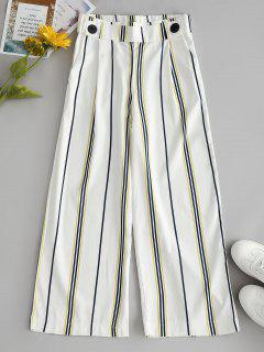 Striped Wide Leg Capri Pants - White L